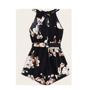 Floral Print Tie Back Halter Romper With Belt